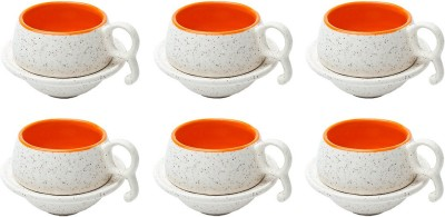 Elite Handicrafts Marble Finish Duotone Tea Cups & Saucers EHCC0167 (White, Orange, Pack Of 12)