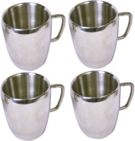 Dynamic Store Set Of 4 Double Wall Apple Mugs DS_158 (Steel, Pack Of 4)