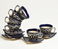 Cultural Concepts Mughal Noveau Cup N Saucer DE/C/5446 (White, Blue, Pack Of 12)
