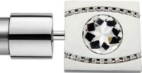 Windows Classic Single Crystal Square Design Curtain Poles (Pack Of 2)