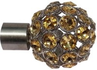 Windows Classic Yellow Gold Crystal Finial Curtain Poles (Pack Of 2)