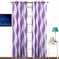 Fabutex Polyester Purple With Silver Abstract Eyelet Door Curtain 213 Cm In Height, Pack Of 2