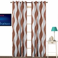 Fabutex Polyester Brown With Silver Abstract Eyelet Door Curtain 213 Cm In Height, Pack Of 2