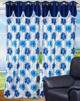 Decor Vatika Polyester Blue Abstract Eyelet Door Curtain 214 Cm In Height, Single Curtain