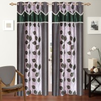 Shop 24 Decor Polyester Green Printed Curtain Long Door Curtain 270 Cm In Height, Pack Of 2