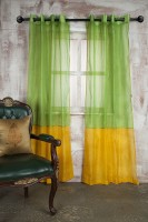 Marigold Polyester Green Plain Eyelet Door Curtain 213.36 Cm In Height, Single Curtain
