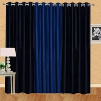 Excel Bazaar Polyester Black, Neavy Blue Solid Eyelet Long Door Curtain 274 Cm In Height, Pack Of 3