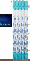 Fabutex Polyester Blue, White Floral Eyelet Door Curtain 214 Cm In Height, Single Curtain