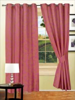 Story @ Home Polyester Pink Window Curtain 150 Cm In Height, Pack Of 2