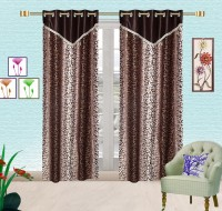 Comfort Zone Polyester Brown And Dark Brown Floral Eyelet Door Curtain 213.36 Cm In Height, Pack Of 2