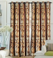 Fantasy Home Decor Polyester Brown Geometric Eyelet Curtain 84 Inch In Height, Pack Of 2