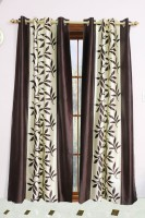 Metro Living Polyester Brown Printed Eyelet Long Door Curtain 268 Cm In Height, Pack Of 2
