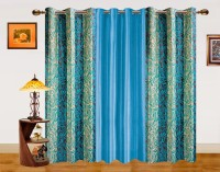 Dekor World Polyester Window Curtain (Pack Of 3, 59 Inch/150 Cm In Height, Blue)