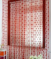 Z Decor Net Red Heart Door Curtain 7 Inch In Height, Pack Of 2