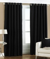 Decor Vatika Polyester Black Window Curtain 153 Cm In Height, Pack Of 2