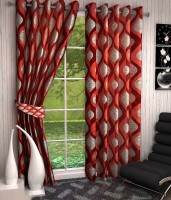 Sajaawat Polyester Red Abstract Curtain Door Curtain 213 Cm In Height, Pack Of 2