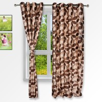 Story @ Home Polyester Brown Floral Eyelet Window Curtain 152 Cm In Height, Pack Of 2