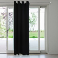 Rosara Polyester Black Solid Eyelet Door Curtain 215 Cm In Height, Single Curtain