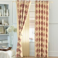 Ahmedabad Cotton Polyester Maroon Floral Eyelet Door Curtain 210 Cm In Height, Single Curtain
