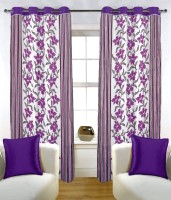 Fabutex Blends Purple Floral Door Curtain 210 Cm In Height, Pack Of 4