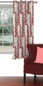 Skipper Blends Maroon Floral Eyelet Window Curtain
