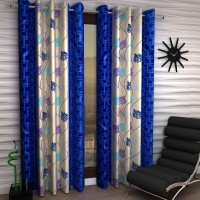 Home Sizzler Polyester Blue Abstract Eyelet Window Curtain 150 Cm In Height, Pack Of 2