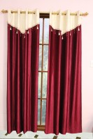 Metro Living Polyester Red Plain Eyelet Window Curtain 154 Cm In Height, Pack Of 2