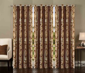 Ville Style Polyester Brown Abstract Eyelet Long Door Curtain