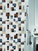 Spread Polyester Grey-Brown Printed Eyelet Shower Curtain 200 Cm In Height, Single Curtain