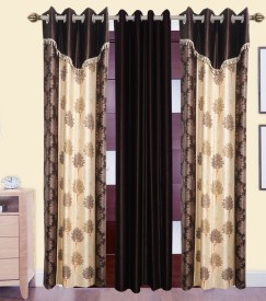 DECO INDIA Polyester Multi - Colour Floral, Abstract Eyelet Long Door Curtain