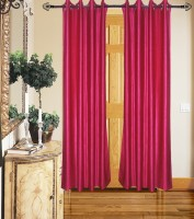 Home Fashion Gallery Polyester Pink Plain Eyelet Door Curtain 213.36 Cm In Height, Single Curtain
