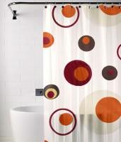 TJAR PVC Multicolor Polka Ring Rod Window & Door Curtain 180 Cm In Height, Single Curtain