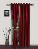 S9home By Seasons Polyester Red Solid Eyelet Door Curtain 260 Cm In Height, Pack Of 2