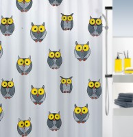 Spread PVC Grey Printed Curtain Shower Curtain 200 Cm In Height, Single Curtain