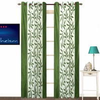 Fabutex Polyester Green Floral Eyelet Door Curtain 210 Cm In Height, Pack Of 2