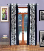 Handy Texty Handy Texty Polyester Black Printed Eyelet Long Door Curtain