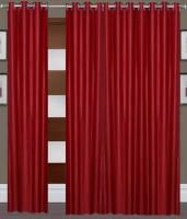 Home Fashion Gallery Polyester Maroon Plain Eyelet Window Curtain 152.4 Cm In Height, Pack Of 8