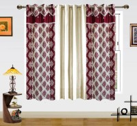 Dekor World Polyester Maroon, White Damask Eyelet Window Curtain 150 Cm In Height, Pack Of 3