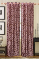 Furnishing Kingdom Polyester Brown Floral Window & Door Curtain 90 Inch In Height, Pack Of 2