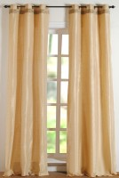 Deco Window Polyester Beige Striped Eyelet Door Curtain 213.36 Cm In Height, Single Curtain