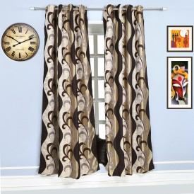 Style Homez Jacquard Dark Brown, Chocolate Brown, Gold, Chamoisee Floral Eyelet Long Door Curtain