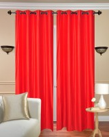 Fresh From Loom Polyester Red Plain Curtain Door Curtain 212 Cm In Height, Pack Of 2