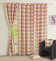 Swayam Satin, Silk Beige, Yellow Printed Eyelet Door Curtain 90 Inch In Height, Single Curtain