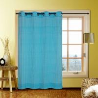 Kings Polycotton Blue Plaid Door Curtain 213.36 Cm In Height, Single Curtain