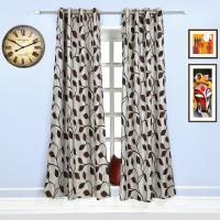 Style Homez Jacquard Chocolate Brown, Dark Brown Floral Eyelet Long Door Curtain 270 Cm In Height, Single Curtain