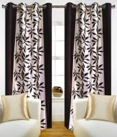 Jojo Designs Polyester Brown Floral Eyelet Door Curtain 214 Cm In Height, Pack Of 2