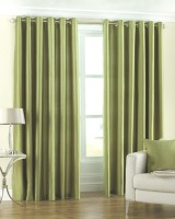 Fresh From Loom Polyester Green Plain Curtain Door Curtain 212 Cm In Height, Pack Of 2