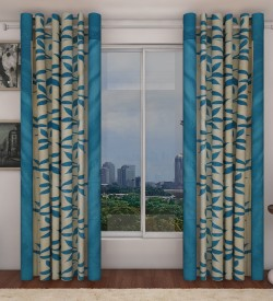 Home Candy Polyester Blue Motif Eyelet Curtain