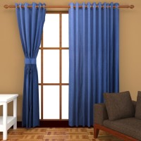 Sajaawat Polyester Shades Of Blue Plain Eyelet Door Curtain 213 Cm In Height, Pack Of 2