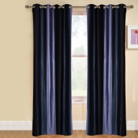 Kaka Furnishings Polyester Blue Plain Eyelet Long Door Curtain 275 Cm In Height, Single Curtain